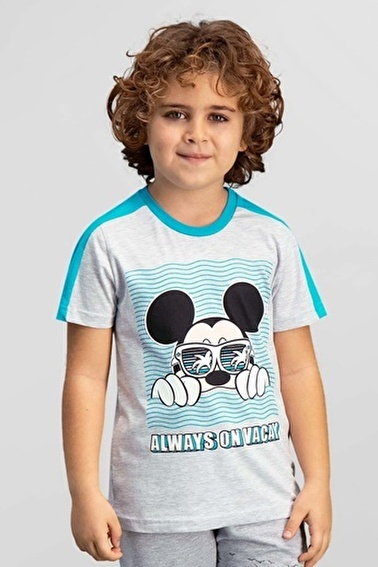 Mickey Mouse Mickey & Minnie Mouse Lisanslı Açık Gri Erkek Çocuk T-Shirt Gri